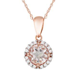10k Rose Gold Morganite and Diamond Accent Pendant