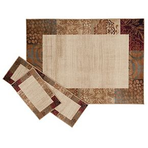 Khl Rugs Transitional Fl 3 Pc Rug Set