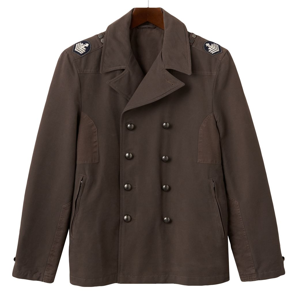 Men's R and O Double-Breasted Military Peacoat