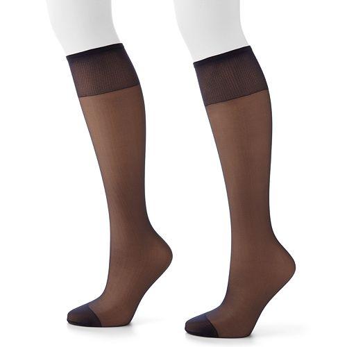 Hanes 2-pk. Silk Reflections Silky Sheer Knee-High Pantyhose