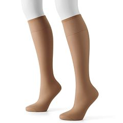 Hanes 2-pk. Silk Reflections Silky Sheer Knee-High Pantyhose