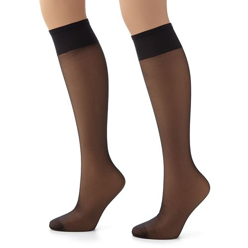 222d1513933 Hanes Plus 2-pk. Silk Reflections Silky Sheer Knee-High Pantyhose