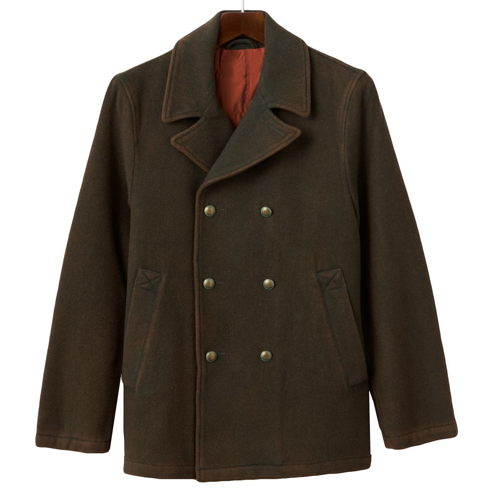 Men's R and O Double-Breasted Wool Blend Peacoat