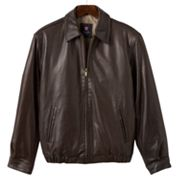 Chaps Leather Bomber Jacket - Men