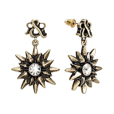 Rock and Republic Gold Tone Simulated Crystal Starburst Drop Earrings
