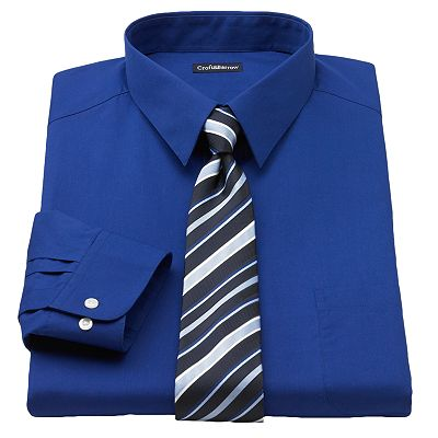 Croft and Barrow Fitted Point-Collar Dress Shirt and Striped Tie Boxed Set - Big and Tall