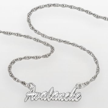LogoArt Colorado Avalanche Sterling Silver Script Necklace