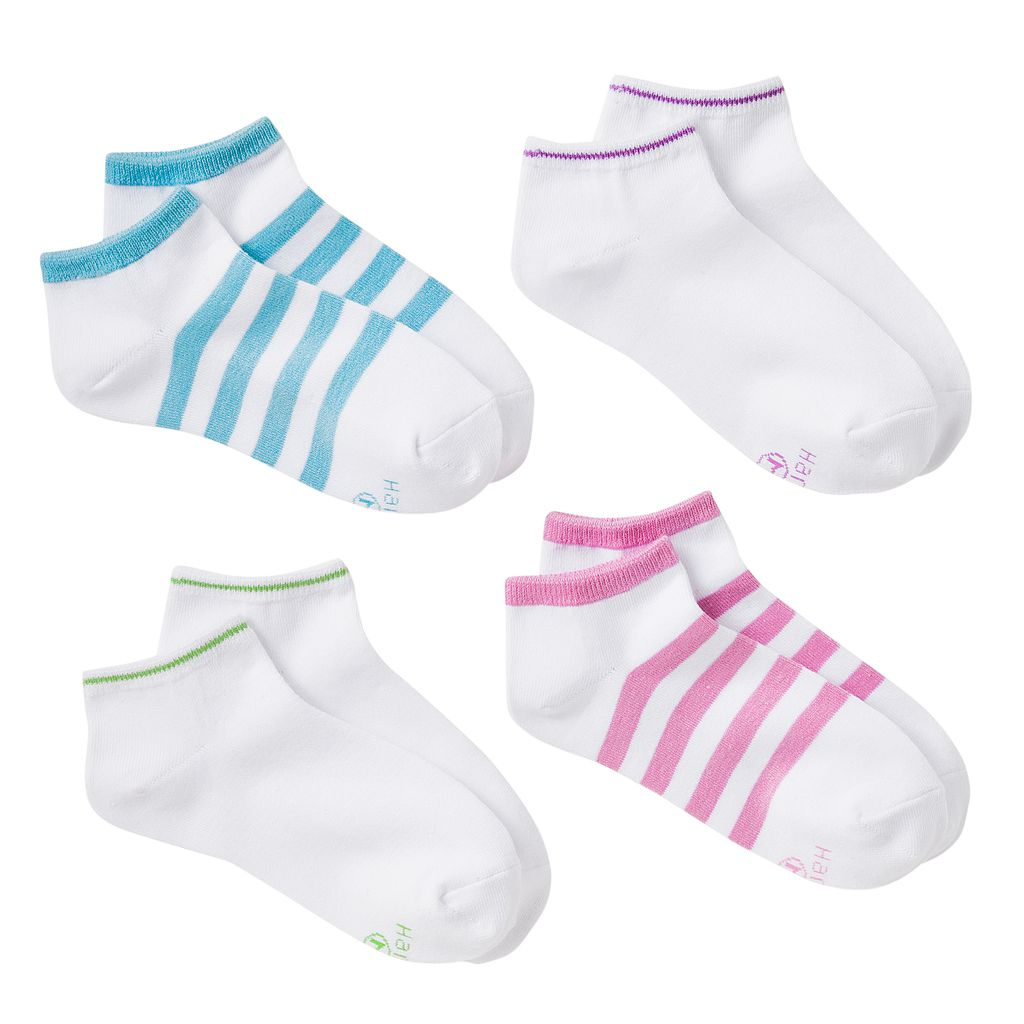 Girls Hanes 4-pk. Striped Low-Cut Socks