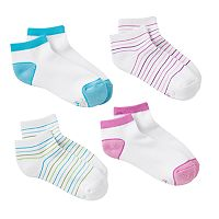 Girls Hanes 4-pk. Striped Low-Cut Socks