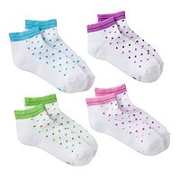 Girls Hanes 4-pk. Dot Low-Cut Socks
