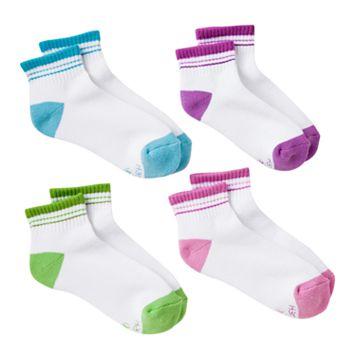 Girls Hanes 4-pk. Tipped Low-Cut Socks