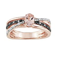 14k Rose Gold Over Sterling Silver Morganite & Black & White Diamond Accent Crisscross Ring