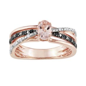 Stella Grace 14k Rose Gold Over Sterling Silver Morganite and Black and White Diamond Accent Crisscross Ring