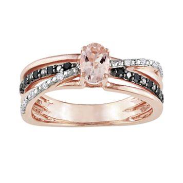 14k Rose Gold Over Sterling Silver Morganite & Black & White Diamond Accent Crisscross Ring