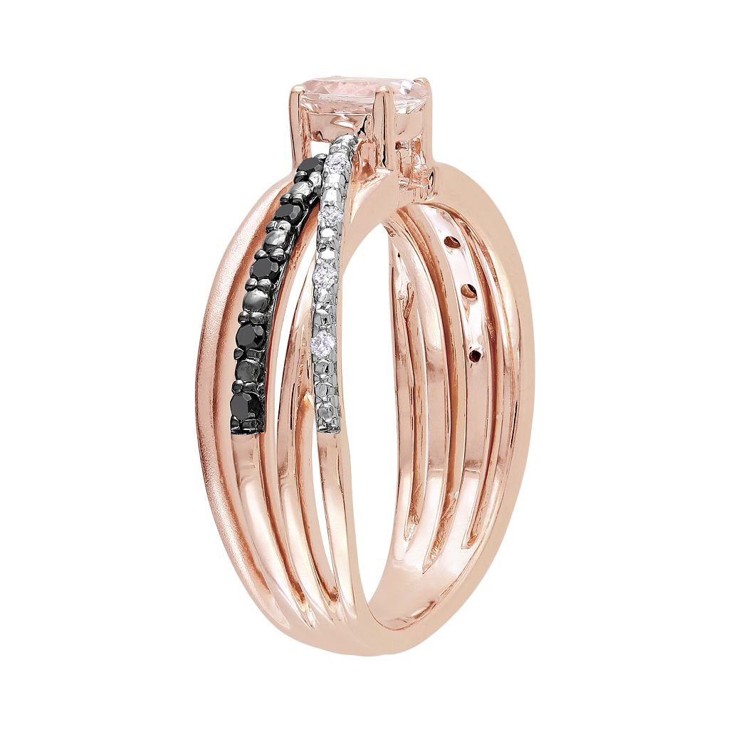 14k Rose Gold Over Sterling Silver Morganite and Black and White Diamond Accent Crisscross Ring