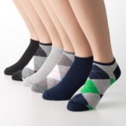 6-pk. Argyle and Solid Shortie Socks