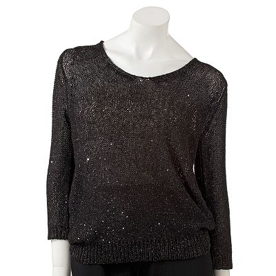 Jennifer Lopez Embellished Tie-Back Sweater