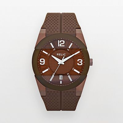Relic Jake Chocolate Brown and Brown Silicone Watch - ZR11974 - Men