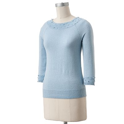 Sag Harbor Lurex Embellished Sweater - Petite