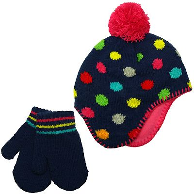 Carter's Dotted Hat and Mittens Set - Baby