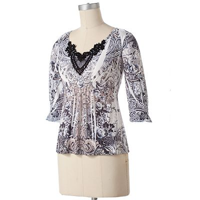 Apt. 9 Floral Crochet Sublimation Top - Petite