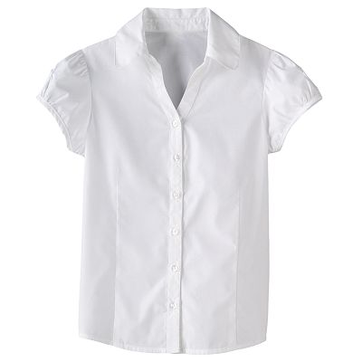 Chaps Y-Neck School Uniform Blouse - Girls Plus