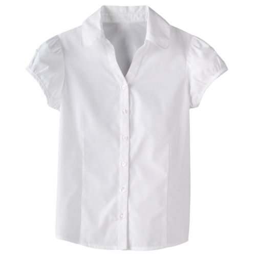 Chaps Y-Neck School Uniform Blouse - Girls Plus