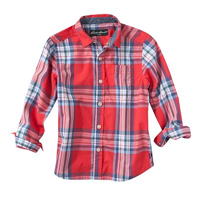 Eddie Bauer Plaid Poplin Button-Down Shirt - Boys 4-7