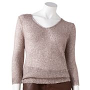 Jennifer Lopez Lurex Open-Work Sweater - Petite