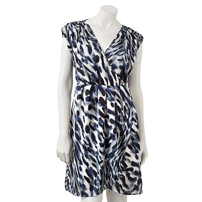 Jennifer Lopez Animal Surplice Tulip-Hem Dress