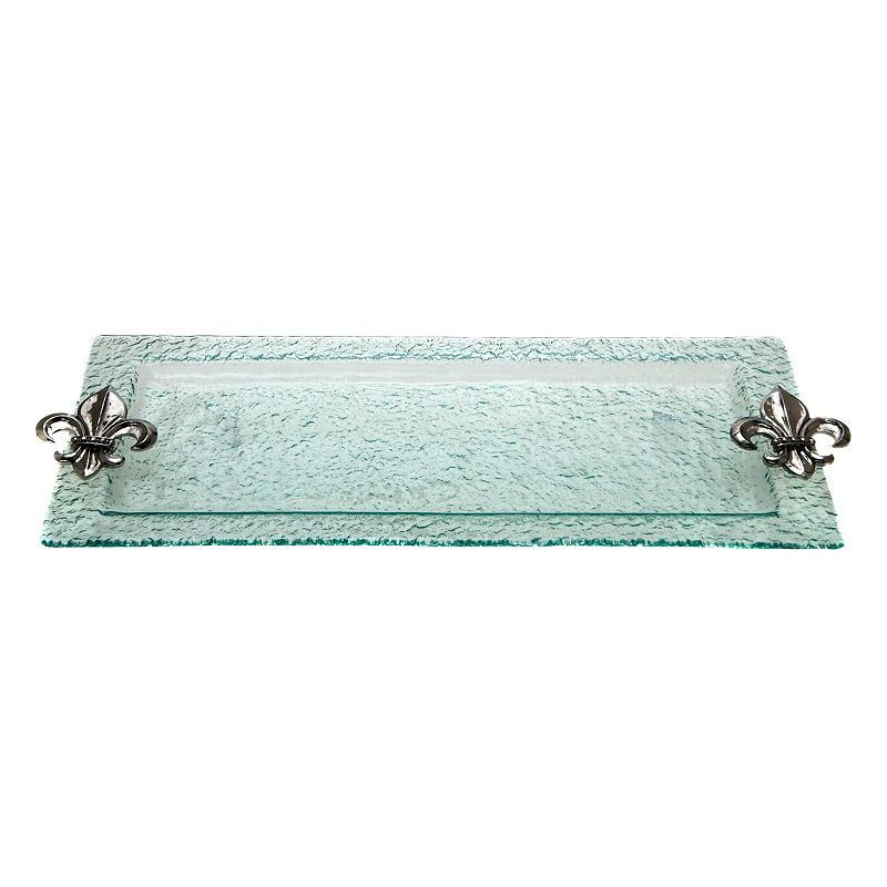 Thirstystone fleur de lis hammered glass serving tray - Fleur de lis serving tray ...