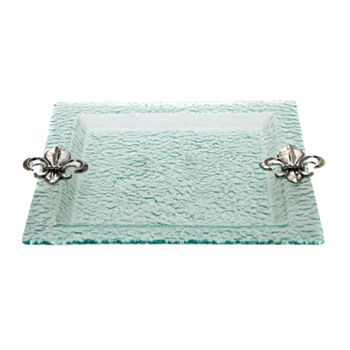 Thirstystone Fleur-de-Lis Hammered Glass Square Serving Tray