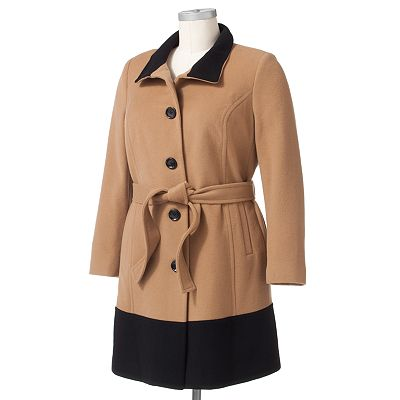 Dana Buchman Colorblock Wool Walker Coat - Women's Plus