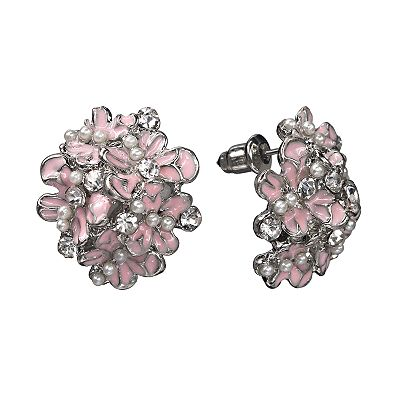 Candie's Silver Tone Simulated Crystal Flower Button Stud Earrings