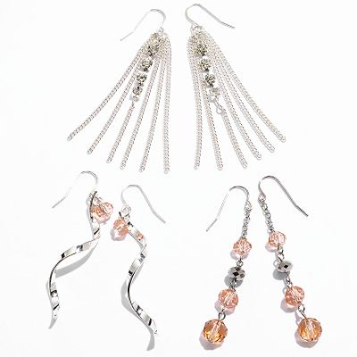 Candie's Silver Tone Simulated Crystal Drop Earring Set