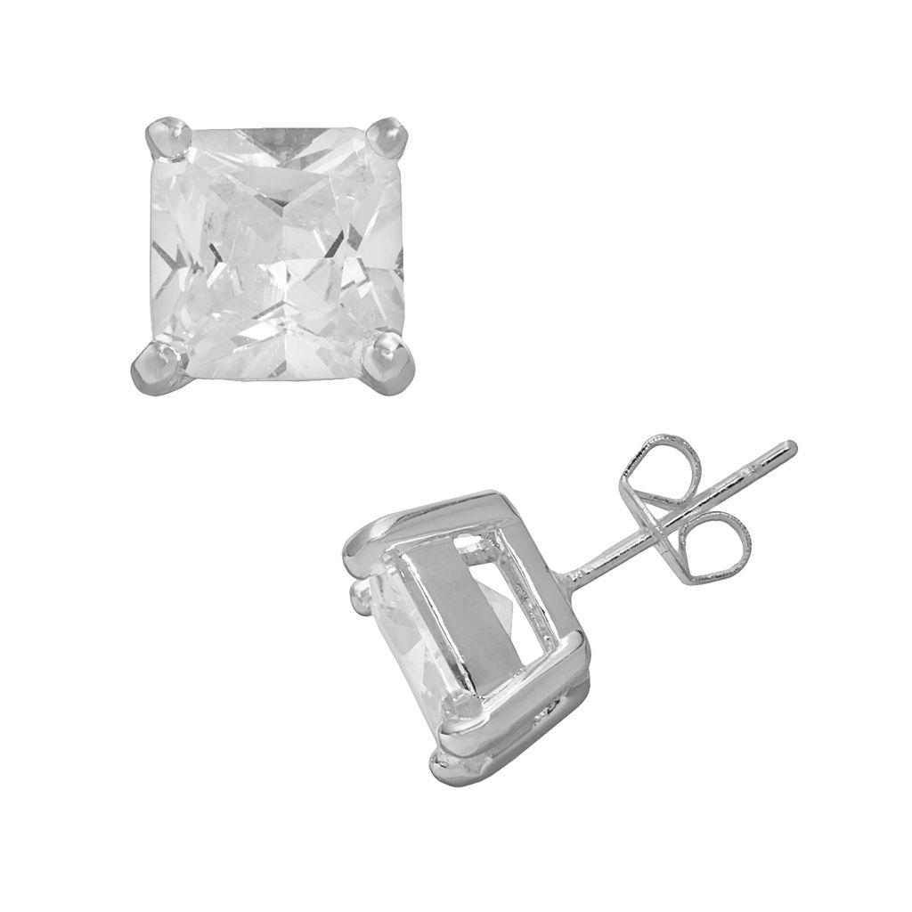 Silver Plated Cubic Zirconia Square Stud Earrings