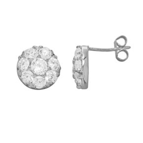Silver Plated Cubic Zirconia Button Stud Earrings