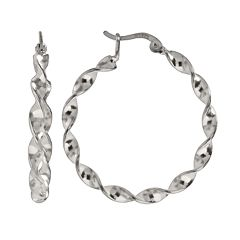 Silver Plated Twist Hoop Earrings