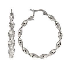Silver Plated Twist Hoop Earrings