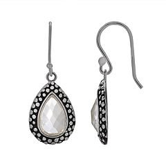 Silver Plated Glass Textured Teardrop Earrings