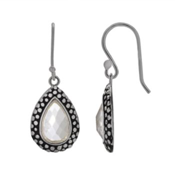 Silver Plated Glass Textured Teardrop Earrings