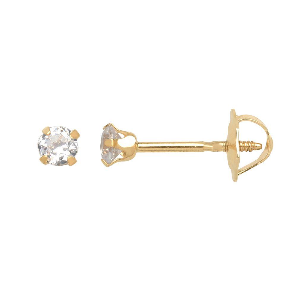 14k Gold Cubic Zirconia Stud Earrings - Kids