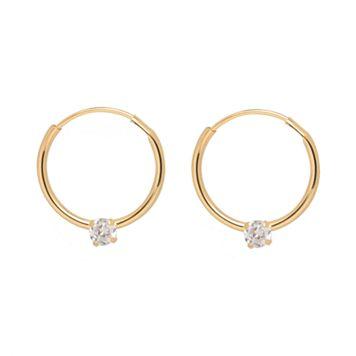 14k Gold Cubic Zirconia Endless Hoop Earrings - Kids