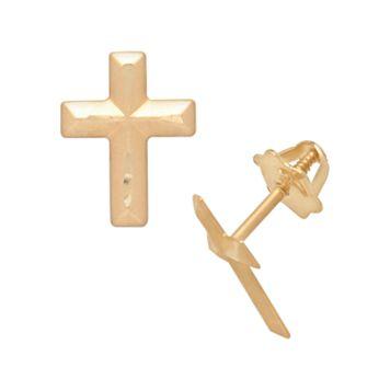 14k Gold Cross Stud Earrings - Kids