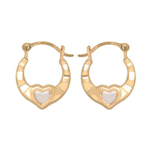 14k Gold Two Tone Heart Hoop Earrings - Kids