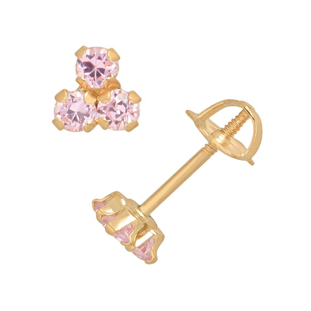 14k Gold Pink Cubic Zirconia Cluster Stud Earrings - Kids