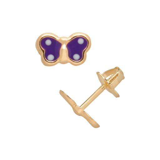 14k Gold Butterfly Stud Earrings - Kids