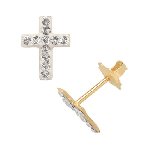14k Gold Crystal Cross Stud Earrings - Kids