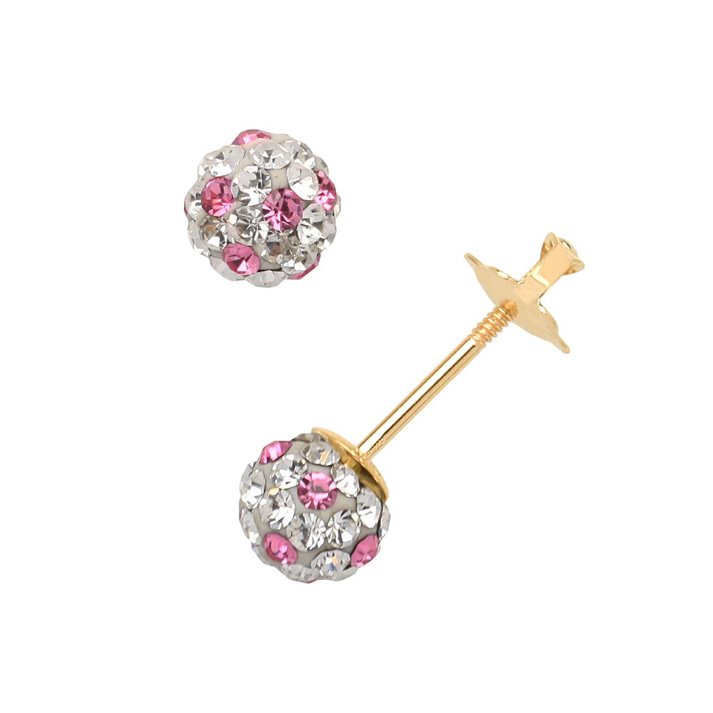 14k Gold Crystal Ball Stud Earrings - Kids