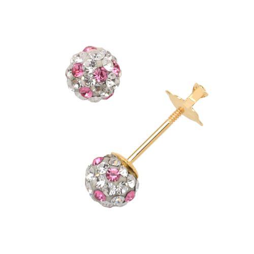 14k Gold Crystal Ball Stud Earrings - Kids